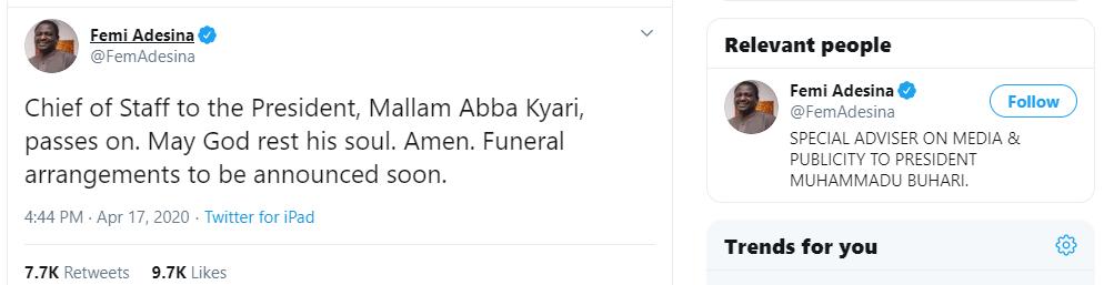 Mallam Abba Kyari Is Dead, nairalearn