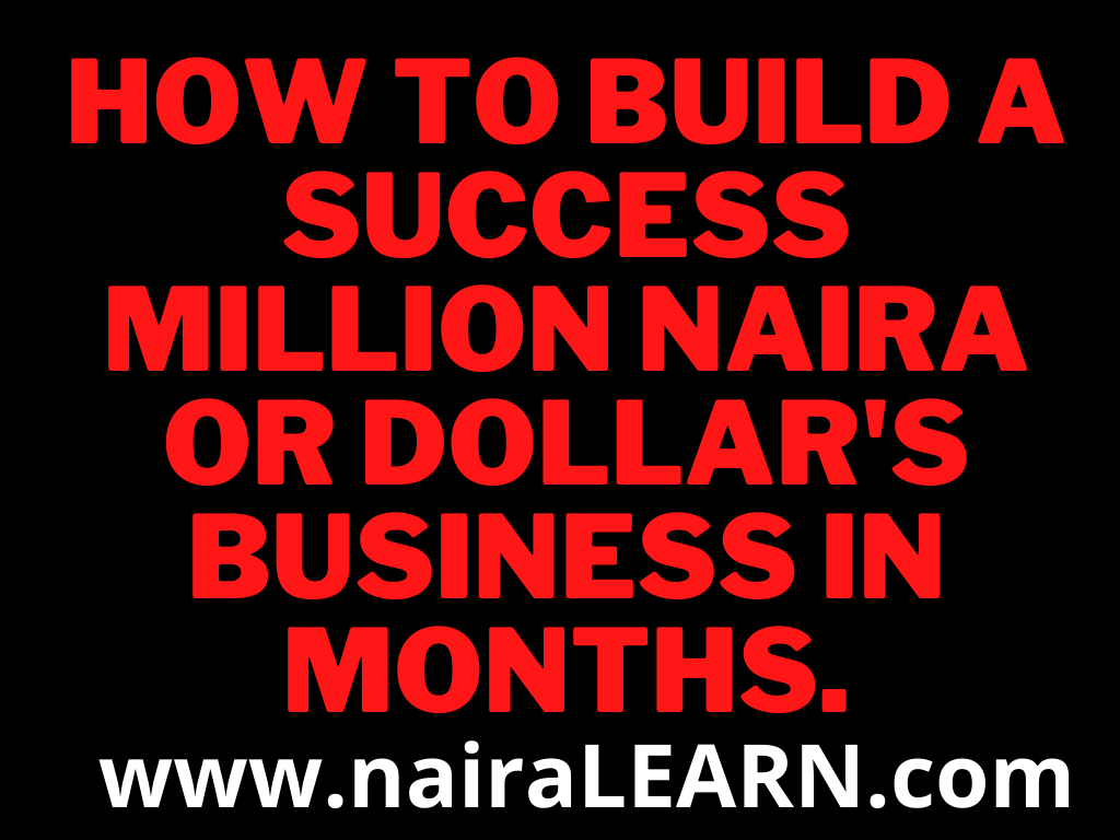 How To Build A Success Million Naira Or Dollar's Business In Months