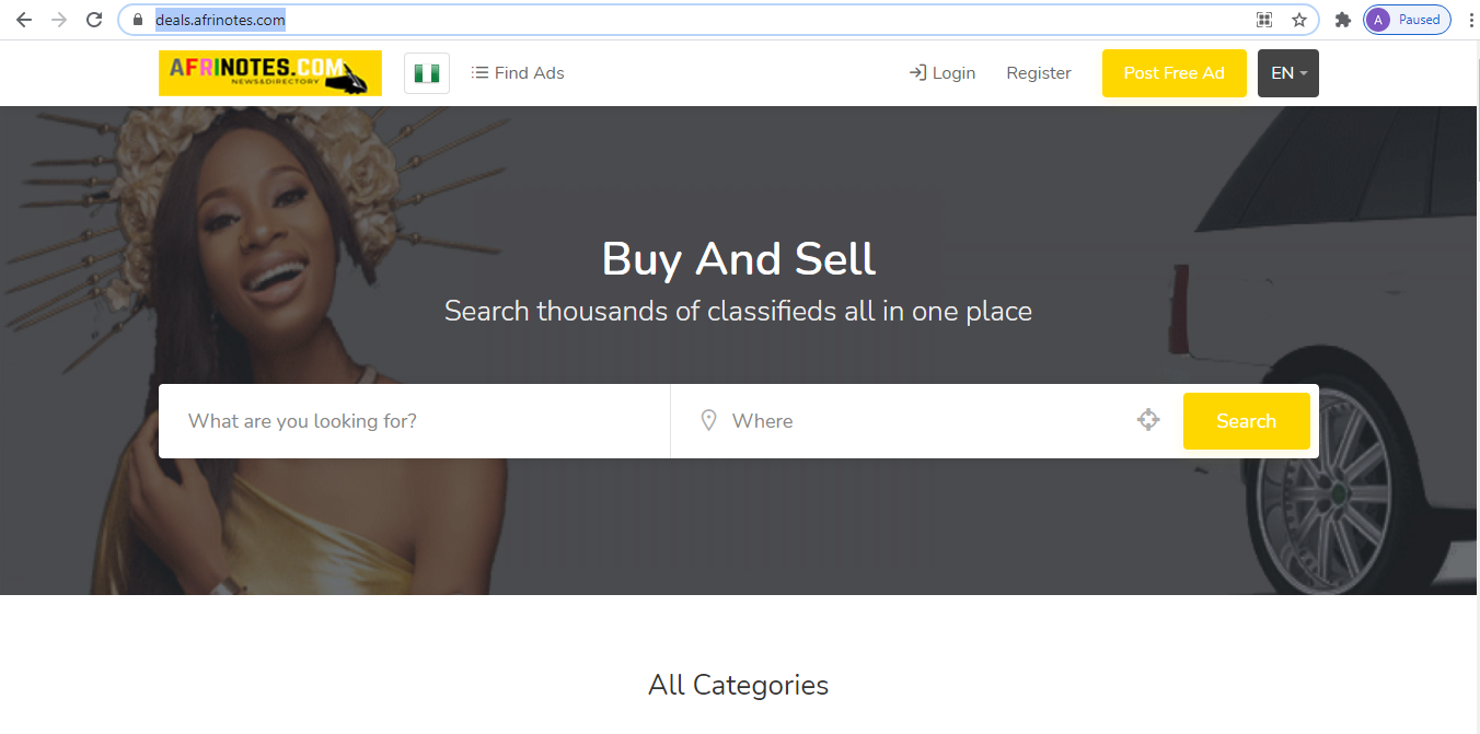 afrinotes classfied deals section