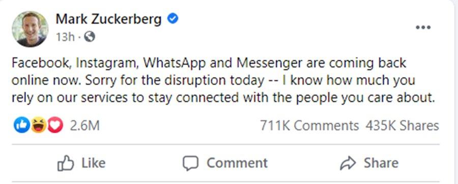 mark zuckerberg apologize for Facebook outage